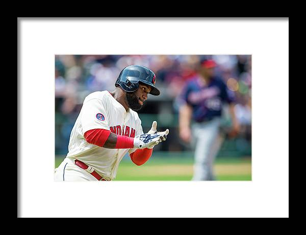 American League Baseball Framed Print featuring the photograph Phil Hughes and Abraham Almonte by Jason Miller
