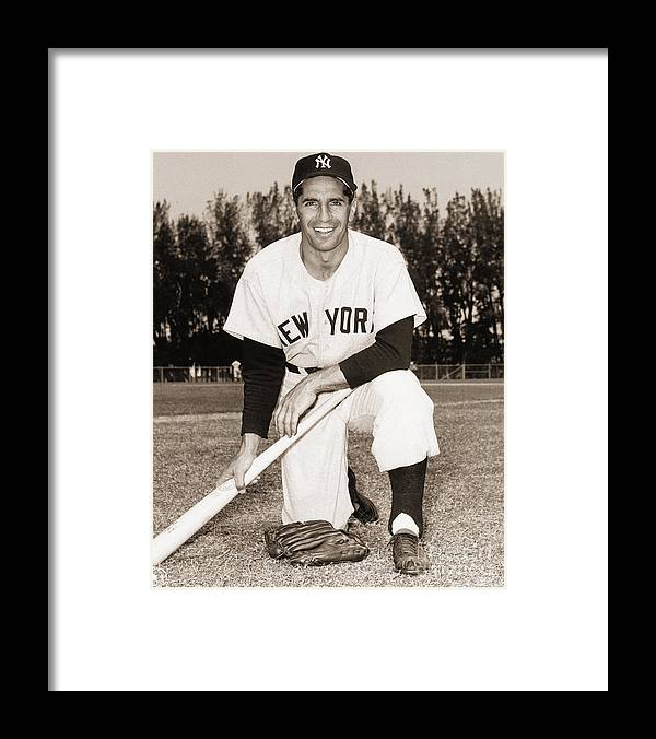 American League Baseball Framed Print featuring the photograph Phil Rizzuto by Mlb Photos