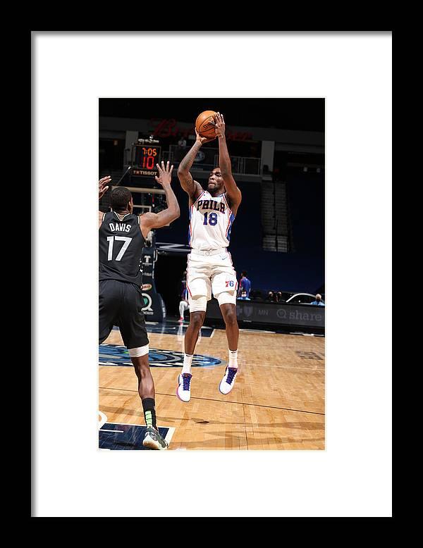 Nba Pro Basketball Framed Print featuring the photograph Philadelphia 76ers v Minnesota Timberwolves by David Sherman