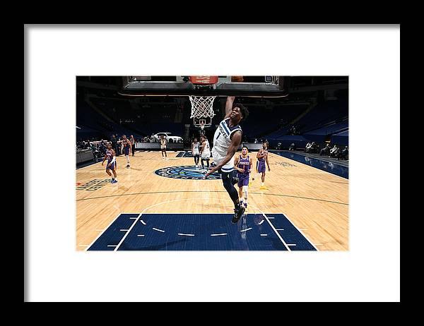 Nba Pro Basketball Framed Print featuring the photograph Phoenix Suns v Minnesota Timberwolves by David Sherman