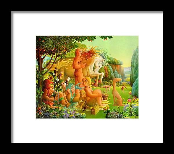 2004 Framed Print featuring the painting Picnic by Giuseppe Mariotti