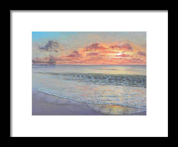 Pier Framed Print featuring the painting Pier Sunrise by Paul Emig