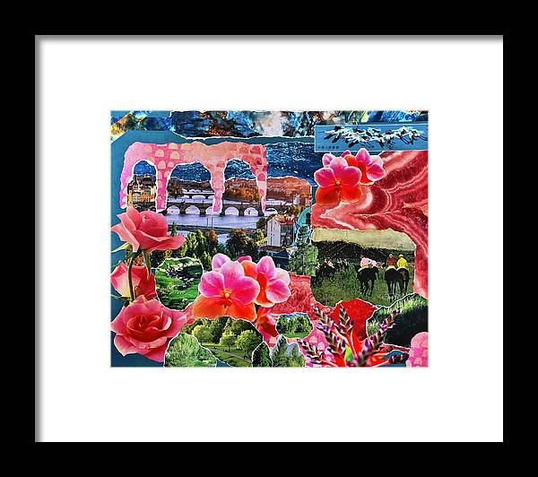 Collage Framed Print featuring the photograph Pink and Blue Collage by Kirsten Giving