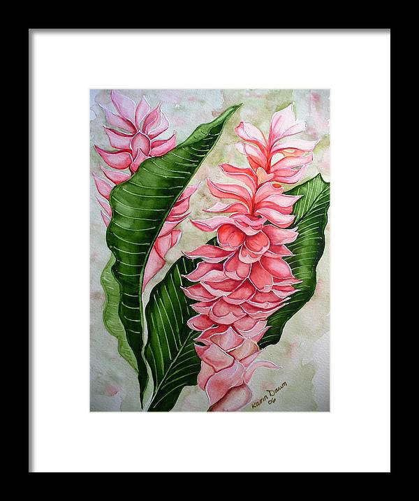 Flower Painting Floral Painting Botanical Painting Ginger Lily Painting Original Watercolor Painting Caribbean Painting Tropical Painting Framed Print featuring the painting Pink Ginger Lilies by Karin Dawn Kelshall- Best