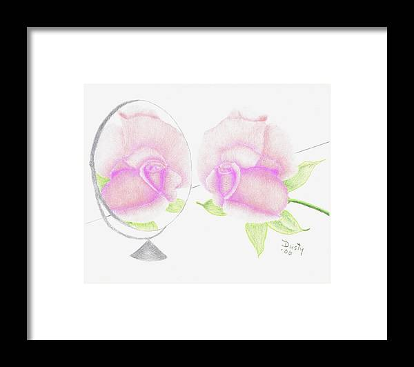 Rose Framed Print featuring the drawing Pink Reflection by Dusty Reed