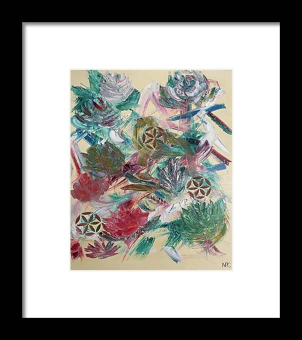 Abstract Framed Print featuring the painting Pinwheels in the Garden by Naomi Cooper