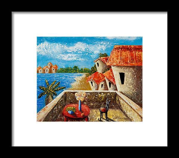 Landscape Framed Print featuring the painting Playa Gorda by Oscar Ortiz