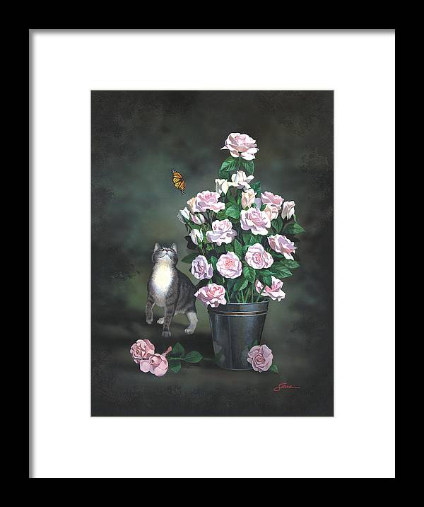 #cat Framed Print featuring the painting Playing Among The Roses by Harold Shull