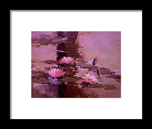 Water Lily Paintings Framed Print featuring the painting Pond Blossoms - water lilies by Betty Jean Billups