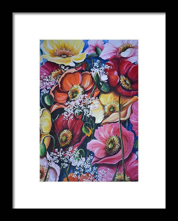 Poppies Framed Print featuring the painting Poppies Delight by Karin Dawn Kelshall- Best