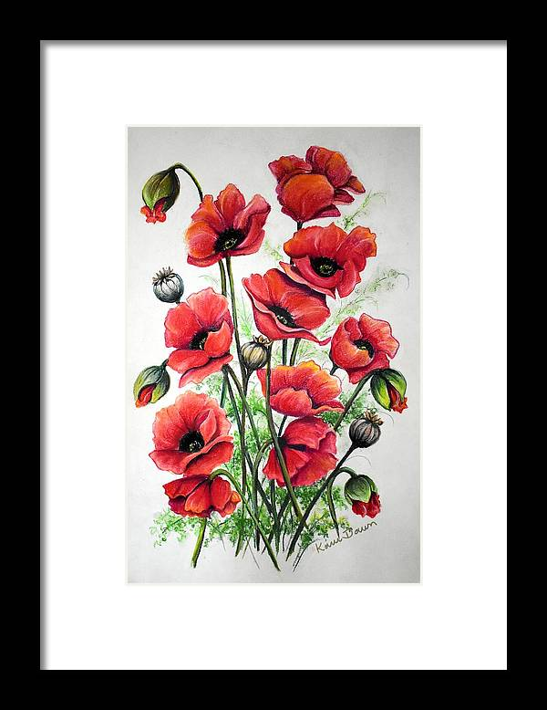 Red Framed Print featuring the drawing Poppies In Pastel by Karin Dawn Kelshall- Best
