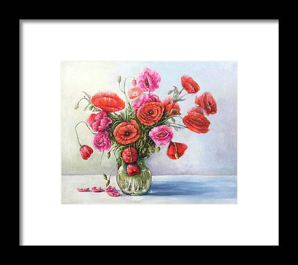 Poppy Framed Print featuring the painting Poppy flowers by Natalja Picugina