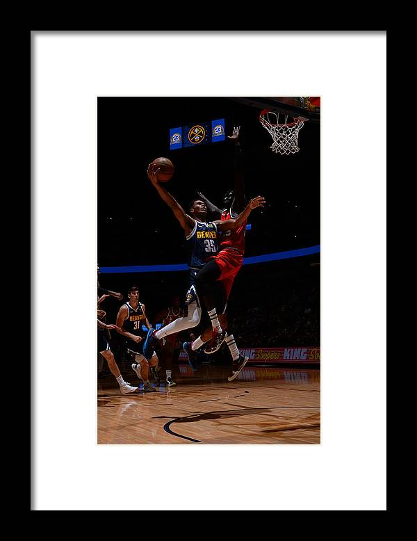 Nba Pro Basketball Framed Print featuring the photograph Portland Trail Blazers v Denver Nuggets by Bart Young