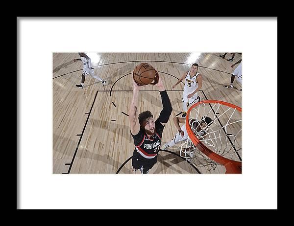 Jusuf Nurkić Framed Print featuring the photograph Portland Trail Blazers v Denver Nuggets by David Dow