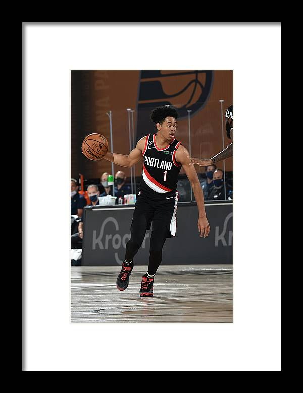 Nba Pro Basketball Framed Print featuring the photograph Portland Trail Blazers v Indiana Pacers by David Dow