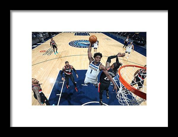 Nba Pro Basketball Framed Print featuring the photograph Portland Trail Blazers v Minnesota Timberwolves by David Sherman