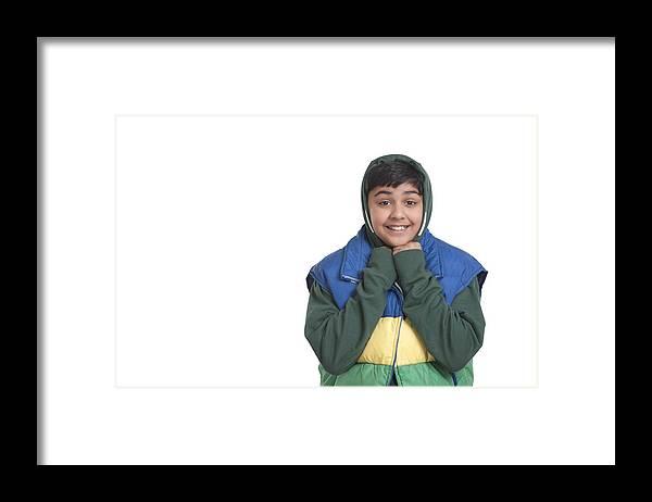 Child Framed Print featuring the photograph Portrait of boy smiling by Sudipta Halder