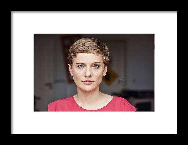 Mid Adult Women Framed Print featuring the photograph Portrait of woman at home by Westend61