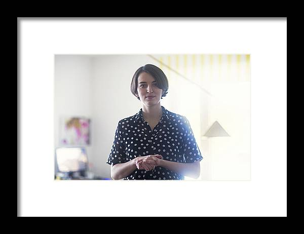 People Framed Print featuring the photograph Portrait of young woman by Sigrid Gombert