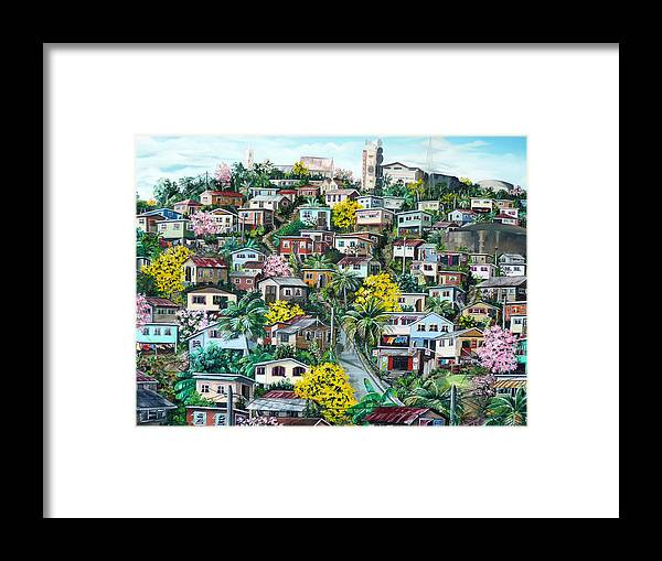 Landscape Painting Cityscape Painting Original Oil Painting  Blossoming Poui Tree Painting Lavantille Hill Trinidad And Tobago Painting Caribbean Painting Tropical Painting Framed Print featuring the painting Poui On The Hill by Karin Dawn Kelshall- Best