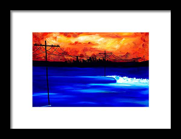 Power Trip Was Created To Mix Urban And Aquatic Scenery. I Was Inspired To Put Power Lines In For Showing Our Future State Of Global Warming. Surf Art Waves. Framed Print featuring the painting Power Trip - surf art by Nathan Paul Gibbs