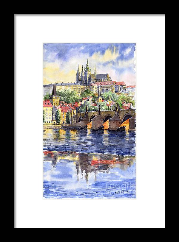 Watercolour Watercolor Prague Praha Cityscape Castle Old City Hous Bridge Framed Print featuring the painting Prague Castle with the Vltava River 1 by Yuriy Shevchuk