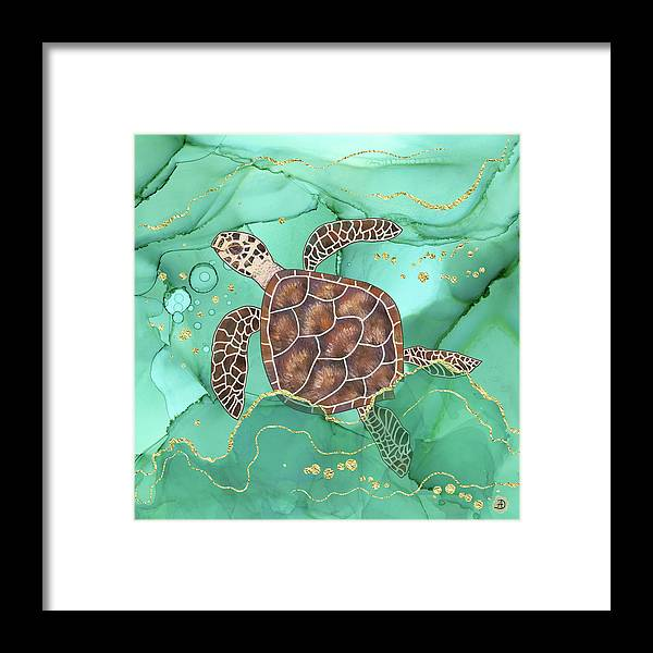 Hawksbill Turtle Framed Print featuring the digital art Precious Hawksbill Turtle Swimming in Emerald Water by Andreea Dumez