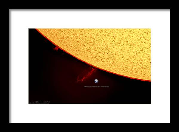Solarprominence Framed Print featuring the photograph Prominence by Prabhu Astrophotography