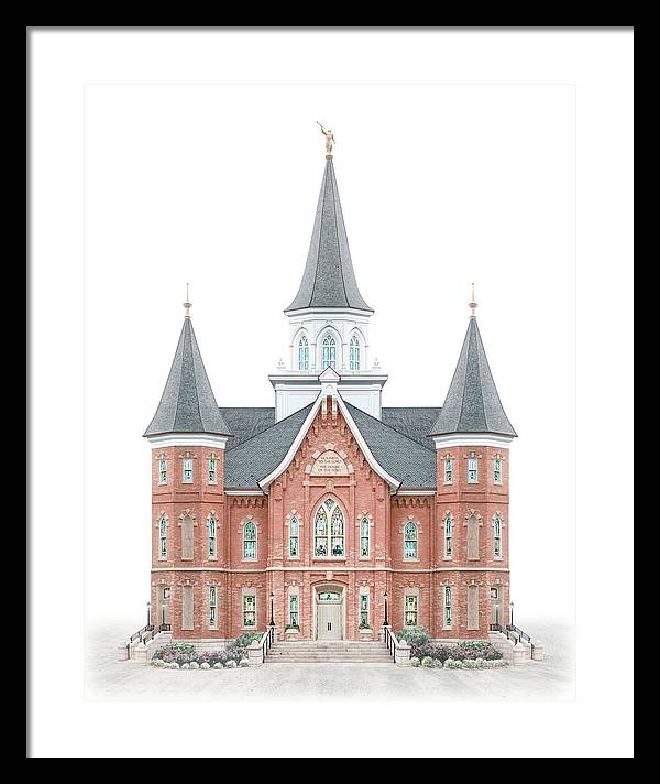 Provo City Center Framed Print featuring the digital art Provo City Center Temple - Celestial Series by Brent Borup