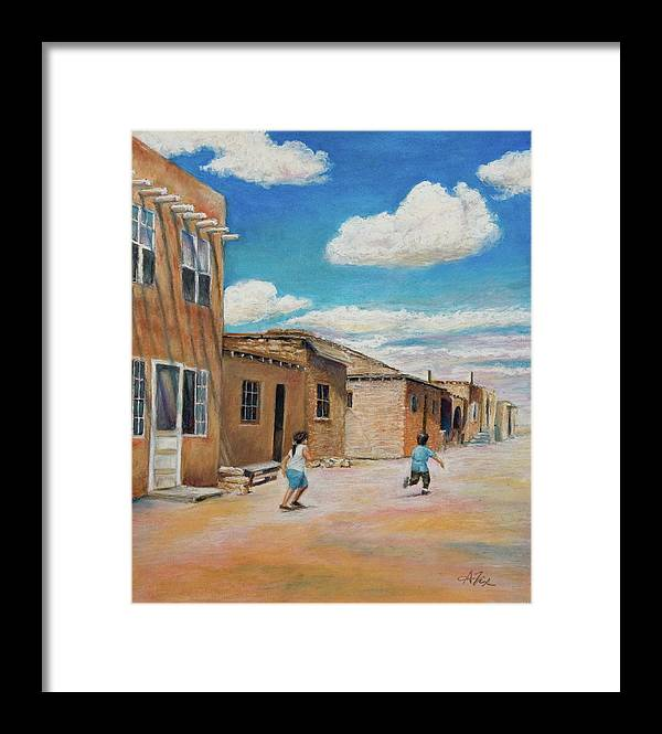 Pueblo Framed Print featuring the painting Pueblo Playground by Arthur Fix