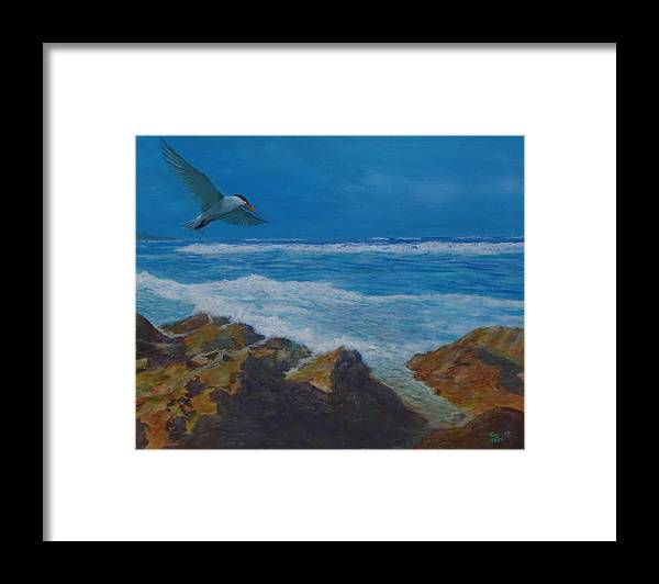 Seascape Framed Print featuring the painting Puerto Nuevo Beach by Tony Rodriguez