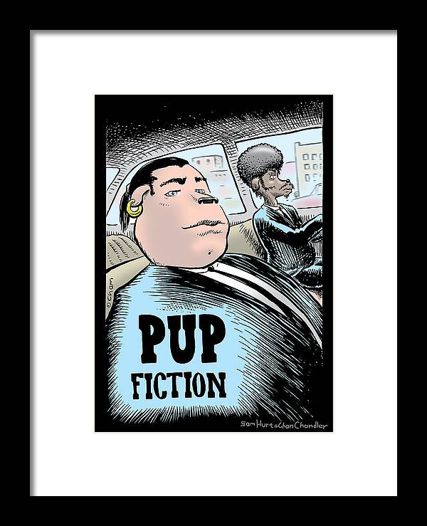 Pulp Fiction Framed Print featuring the digital art Pup Fiction by Sam Hurt