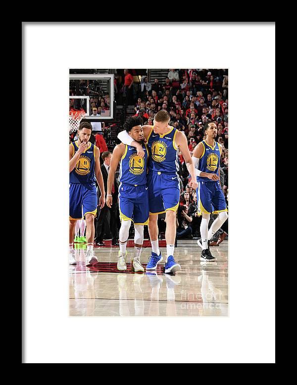Nba Pro Basketball Framed Print featuring the photograph Quinn Cook and Jonas Jerebko by Andrew D. Bernstein