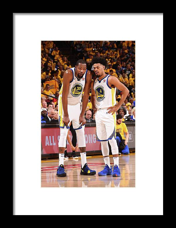 Playoffs Framed Print featuring the photograph Quinn Cook and Kevin Durant by Noah Graham