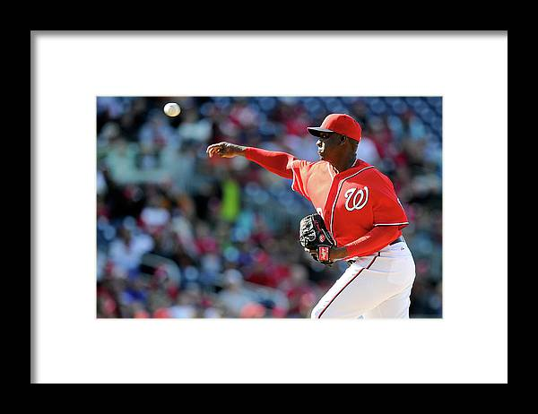 Ninth Inning Framed Print featuring the photograph Rafael Soriano by Greg Fiume