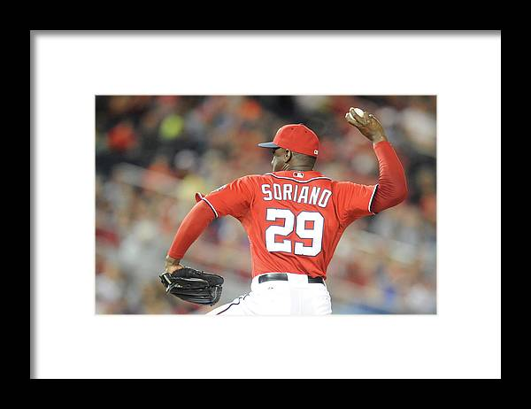 Baseball Pitcher Framed Print featuring the photograph Rafael Soriano by Mitchell Layton