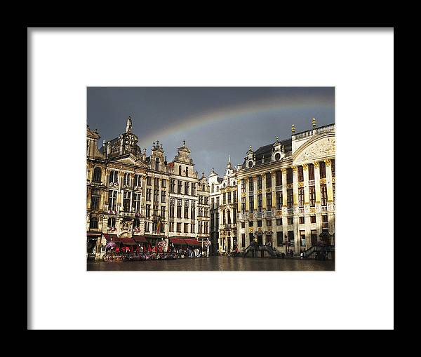 Belgium Framed Print featuring the photograph Rainbow over Grand Place by Leonardo Regoli