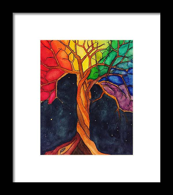 Rainbow Framed Print featuring the painting Rainbow Tree with Night Sky by Vonda Drees