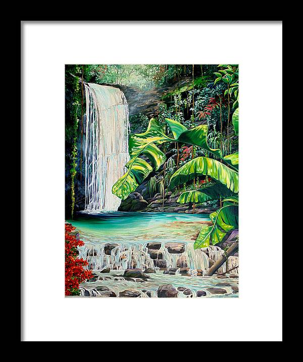 Water Fall Painting Landscape Painting Rain Forest Painting River Painting Caribbean Painting Original Oil Painting Paria Northern Mountains Of Trinidad Painting Tropical Painting Framed Print featuring the painting Rainforest Falls Trinidad.. by Karin Dawn Kelshall- Best