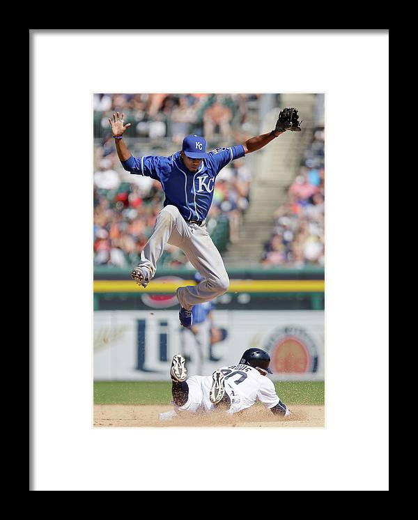 People Framed Print featuring the photograph Rajai Davis and Alcides Escobar by Duane Burleson