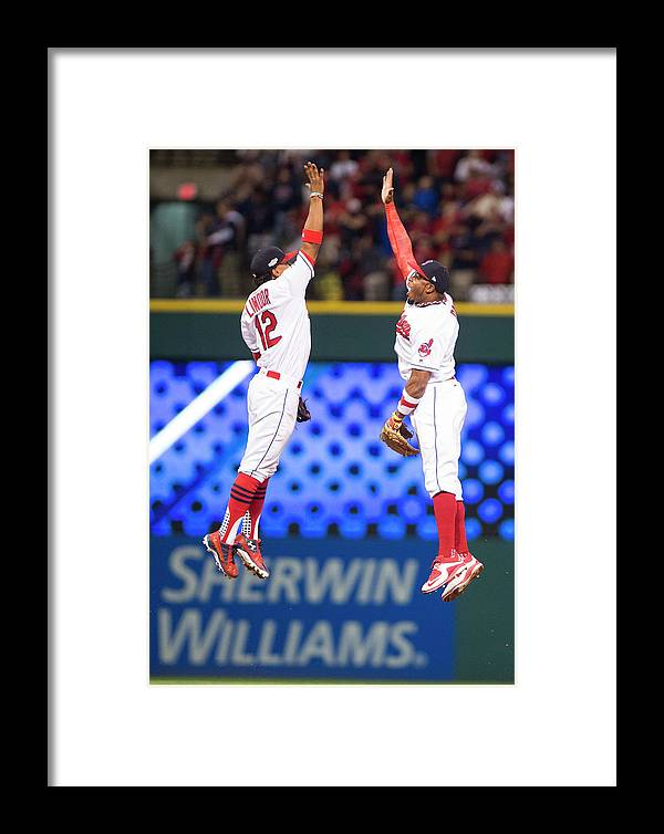 People Framed Print featuring the photograph Rajai Davis And Francisco Lindor by Michael Ivins/boston Red Sox
