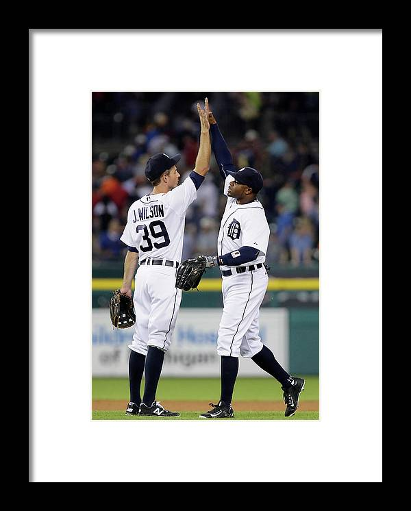 People Framed Print featuring the photograph Rajai Davis and Josh Wilson by Duane Burleson
