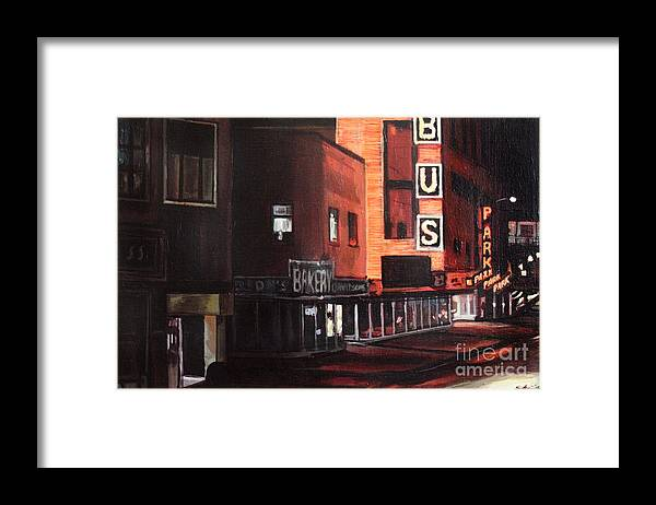 Chicago Framed Print featuring the painting Randolph at Night by Christopher Buoscio