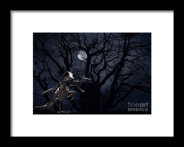 Raven Framed Print featuring the photograph Raven and Rat Skeleton in Moonlight - Halloween by Colleen Cornelius