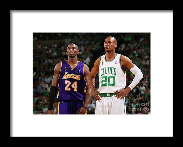 Nba Pro Basketball Framed Print featuring the photograph Ray Allen and Kobe Bryant by Jesse D. Garrabrant