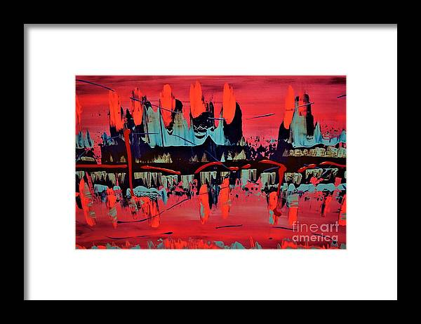 Red Framed Print featuring the painting RED by Jimmy Clark