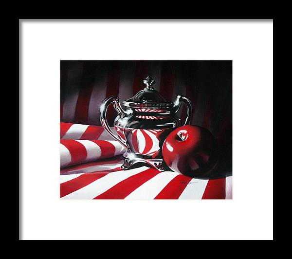 Apple Framed Print featuring the pastel Red White And Apple by Dianna Ponting