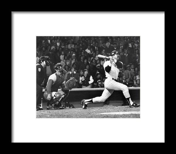 American League Baseball Framed Print featuring the photograph Reggie Jackson by Louis Requena