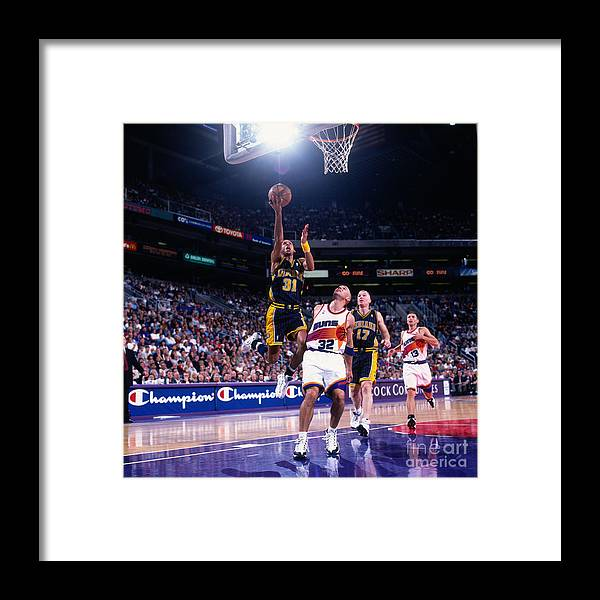 Nba Pro Basketball Framed Print featuring the photograph Reggie Miller and Jason Kidd by Sam Forencich