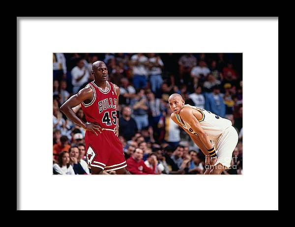Chicago Bulls Framed Print featuring the photograph Reggie Miller and Michael Jordan by Barry Gossage